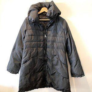 Via Spiga Long Puffer Jacket Coat Full Zip Ruffle